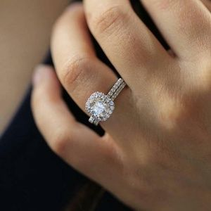 Square Halo Cut cz  Ring silver plated